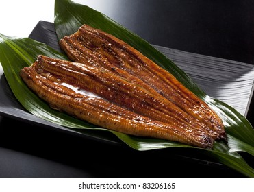 japanese food roast eel ( unagi ) on bamboo grass