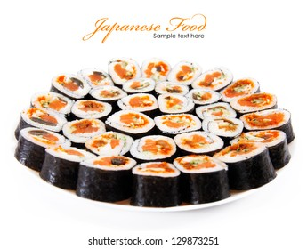 Japanese food. Rolls on a plate isolated on a white background