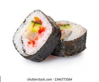 Japanese food, rolls on white isolated background