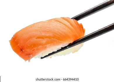 """Japanese food """"Sake (Salmon)"""" sushi on chopsticks isolated on white background."""