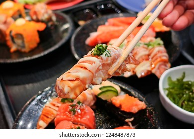 Japanese food, salmon salt sushi.
