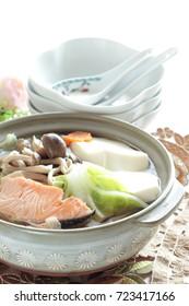 Japanese food, salmon and tofu hot pot