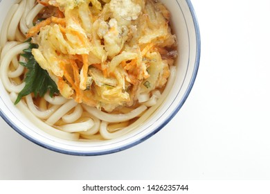 Japanese food, scallop Tempura on Udon noodles