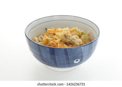 Japanese food, scallop Tempura on Udon noodles