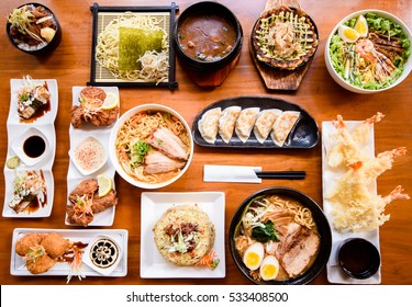 Japanese food served on the table.