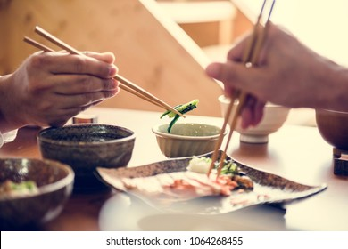 Japanese food set on the table