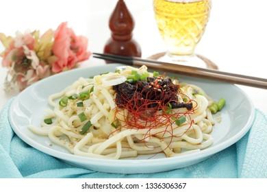 Japanese food, simmered beef on udon noodles