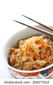 Japanese food, simmered Kiriboshi Daikon and carrot for healthy food image