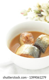 Japanese food, simmered mackarel and miso
