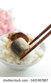 Japanese food, simmered miso and mackarel on rice