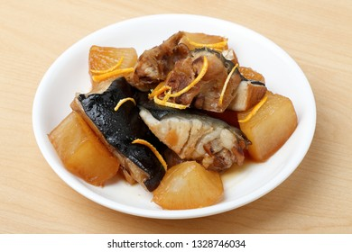 Japanese food,  Simmered Yellowtail with Radish ,radish soy sauce simmered