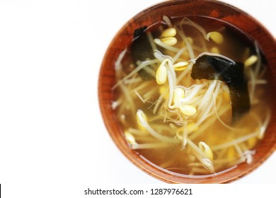 Japanese food, soy sprout and seaweed  miso soup