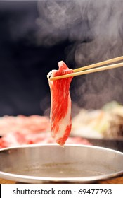 Japanese Food with steam shabushabu