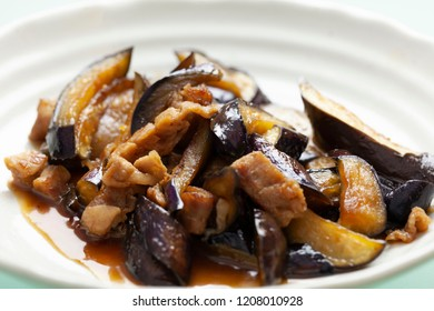 Japanese food / Stir-fried sweet and spicy eggplant and pork