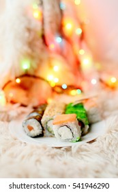 Japanese food is sushi rolls Christmas and New Year
