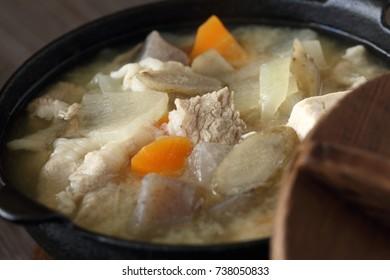 Japanese food, Tonjiru Butajiru pork miso soup