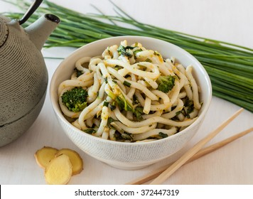 Japanese food. Udon noodles with broccoli and vegetables