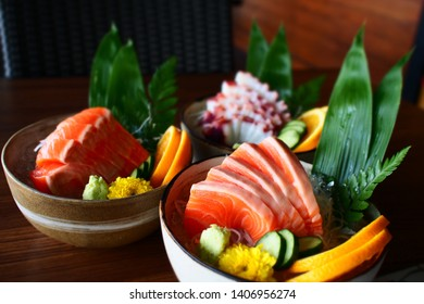 Japanese foods in bowl salmon and octopus sashimi