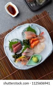 japanese foods sashimi (raw sliced fish, shellfish or crustaceans)