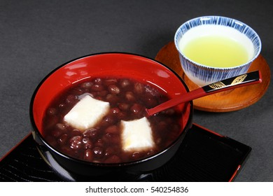 Japanese food,Zenzai,sweet red bean soup with rice cake