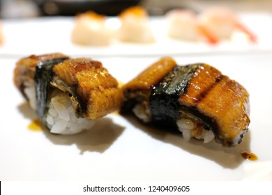 Japanese fresh sushi. Unagi is the Japanese word for freshwater eel, especially the Japanese eel, Anguilla japonica. Unagi is a common ingredient in Japanese cooking, often as kabayaki.