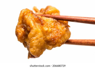 Japanese fried food karaage isolated on white background