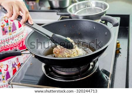 japanese fried pork making frying pan stock photo edit now