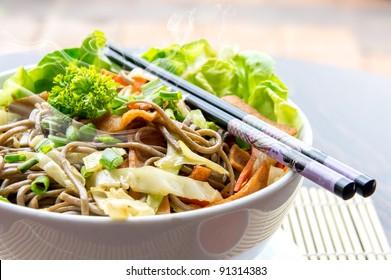 Japanese Fried Soba with Chopstick
