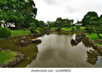 Japanese garden of The Akebono-yama Park.