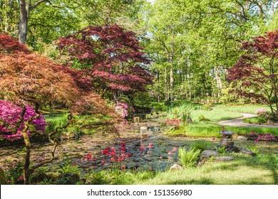 Japanese garden in Clingendael Park in The Hague, Netherlands