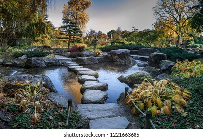 The Japanese garden in an European garden in Augsburg, Germany
