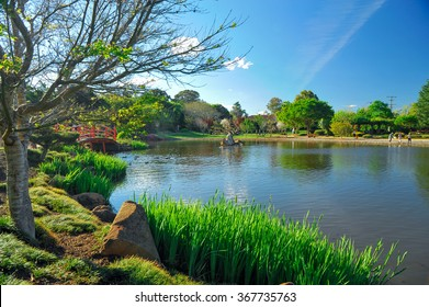 Japanese garden and a lake under blue sky at Toowoomba, Queensland, Australia