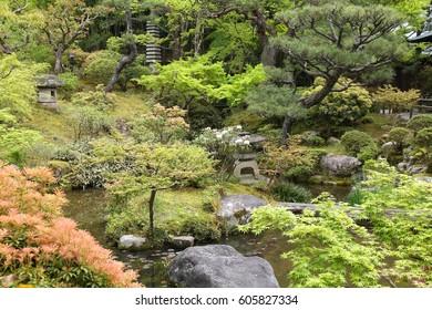 Japanese garden in Nara, Japan (Kansai region) - UNESCO World Heritage Site. Yoshikien Garden.