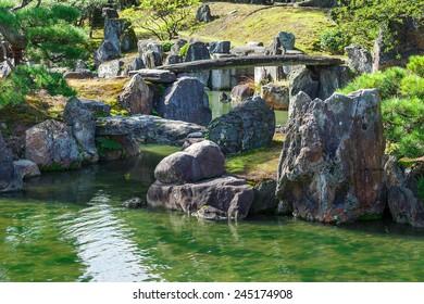 Japanese Garden at Nijo Castle in Kyoto, Japan