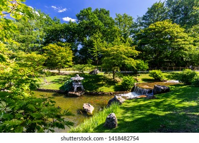 Japanese garden park in Hasselt, Belgium, on a clear sunny day in summer