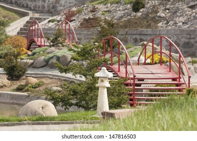 japanese garden with stairs and bridges