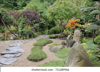 Japanese garden in summer with a stone path