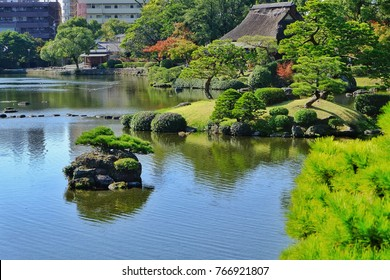 Japanese garden traditional style  beautiful nature with big lake and land from,Landscape in Kumamoto province Japan