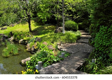 The Japanese garden which was built on the site of castle, Shizuoka, Japan : May 15, 2011