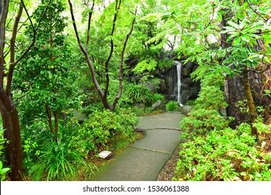 Japanese garden which is in the center of Shizuoka City, Shizuoka, Japan : November 15, 2015