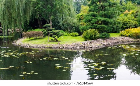 The Japanese garden of Wroclaw in Poland with a lot of vegetation in the background