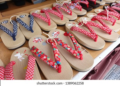 "Japanese ""geta"" (wooden slippers) for sale as souvenir."