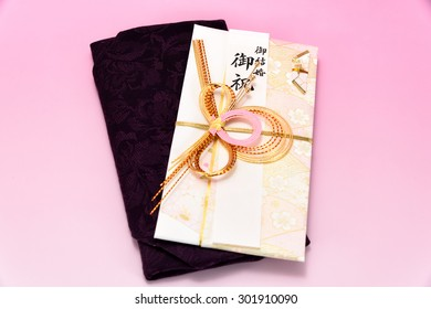Japanese gift envelope and Crape wrapper. Japanese traditional congratulation envelopes.