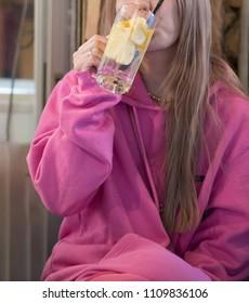 Japanese girl are drinking the Lemon sour in Japan bar(Izakaya).