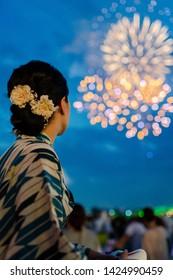 japanese girl fireworks beautiful kimono