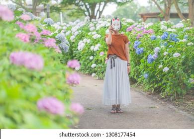 japanese girl fox mask hydrangea