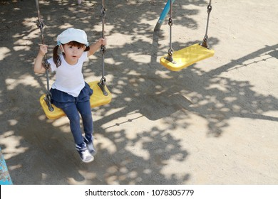 Japanese girl on the swing (3 years old)