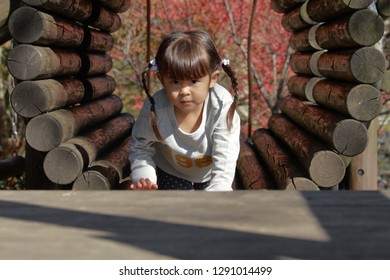 Japanese girl playing at outdoor obstacle course (4 years old)