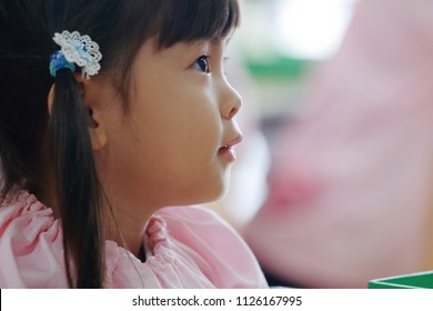 Japanese girl in playwear in her classroom (3 years old) (white back)