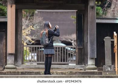 Japanese girl visit temple in japan